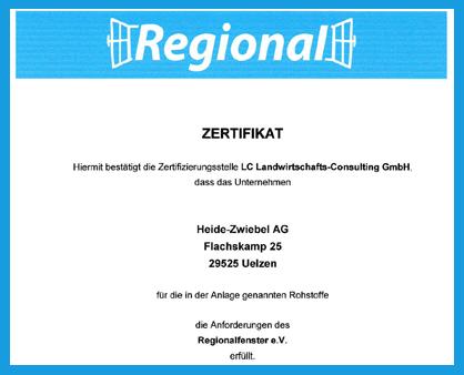 Heide-Zwiebel AG - Zertifikat Regionalfenster e. V.
