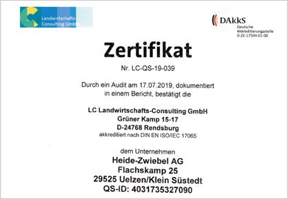 Heide-Zwiebel AG Kl. Süstedt - Zertifikat Qualitätssystem